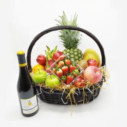 公司送禮品果籃:小型16吋紅酒禮品果籃